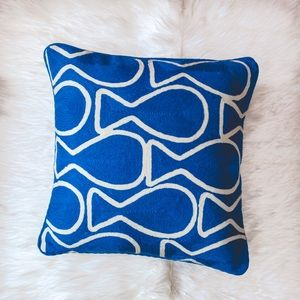 18x18 blue embroidered throw pillow